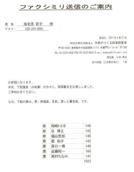 【国会請願のご報告】2007.4/27