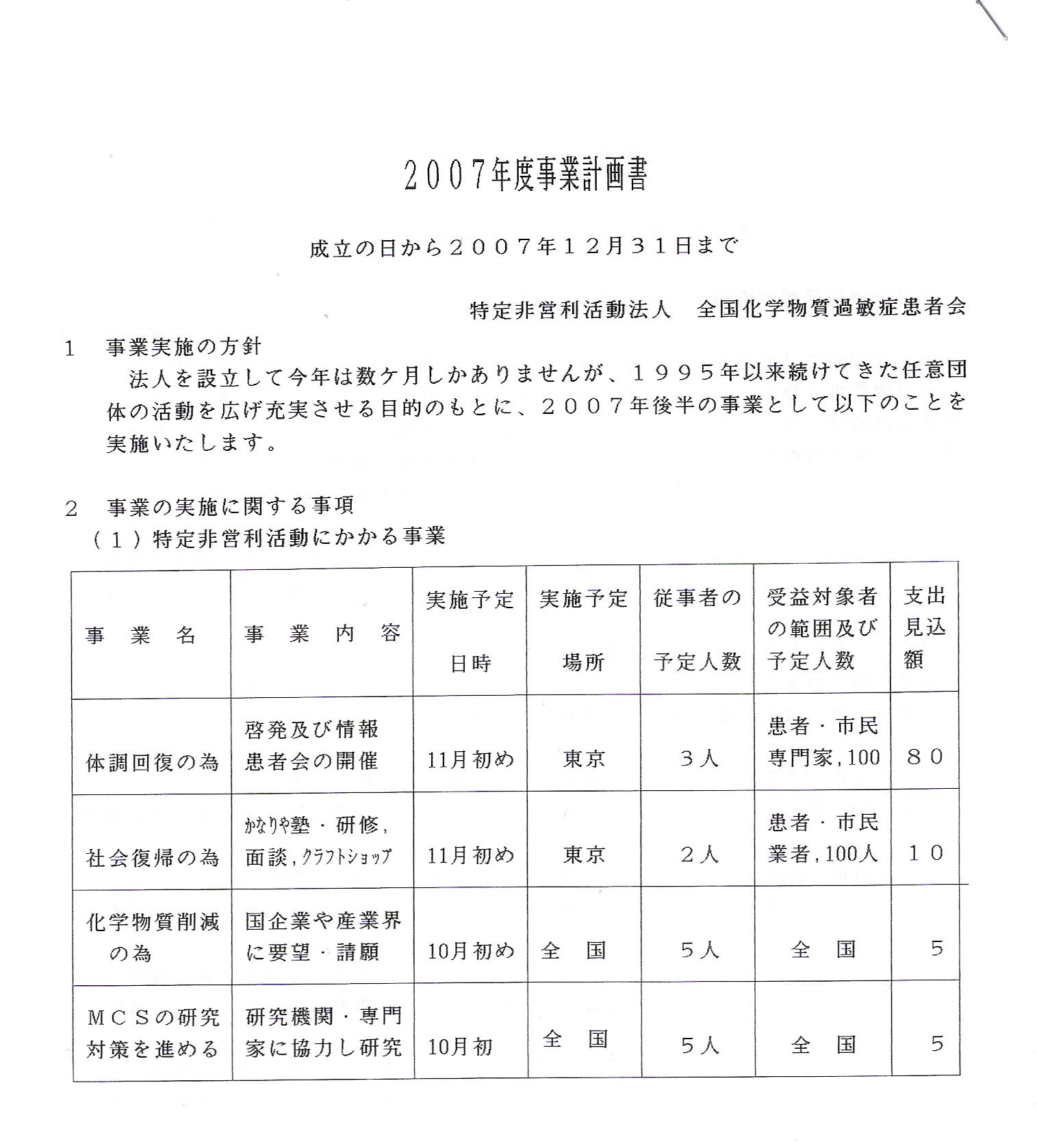 【2007年度事業計画書】12月31日まで