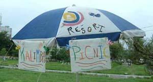 カリンバピクニックの傘